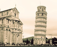 The Tower of Pisa and the south end of the Pisa Cathedral transept - Pisa, Italy