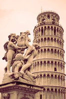 The Putti Fountain in front of the Tower of Pisa - Pisa, Italy