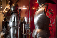 Sword and suits of armour in the armoury of the Muiderslot museum - Muiden, Netherlands