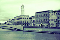 Palazzo Pretorio and the buildings along the south bank of the Arno - Pisa, Italy
