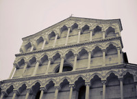 Detail of the façade of the church of San Michele in Borgo - Pisa, Italy