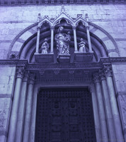Detail of the façade of the Catholic church of San Michele in Borgo - Pisa, Italy