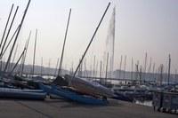 Jet d'Eau from the harbour - Geneva, Switzerland