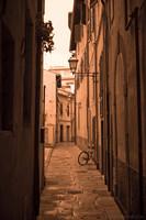 Bike in a street of the Santa Maria quarter - Infrared version - Pisa, Italy