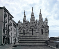 Back façade of Santa Maria della Spina in infrared - Pisa, Italy