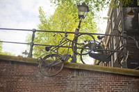Extreme bicycle parking over a canal in Amsterdam - Amsterdam, Netherlands