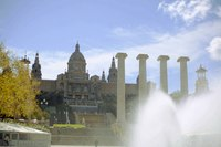 Art Museum of Catalonia as seen from the magic fountain of Montjuïc - Barcelona, Spain