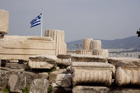 Archaeological remains from the Temple of Rome and Augustus in the Acropolis of Athens - Athens, Greece