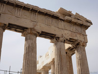 Detail of a corner of the Parthenon's east façade - Athens, Greece
