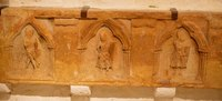 Gravestone relief in the Hall of the Vicars exhibition - Cashel, Ireland