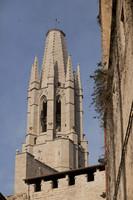 Gothic bell tower of the Sant Feliu basilica - Girona, Spain