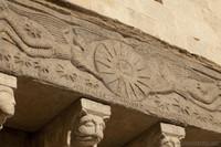 Detail of the sarcophagus on the façade of Sant Feliu basilica - Girona, Spain