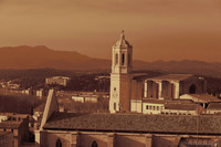 The Girona Cathedral and surrounding hills in infrared - London, England