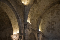 Detail of the vault and capitals in the central apse of the monastery - Girona, Spain