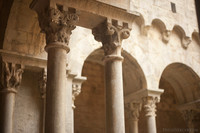 Double columns in the cloister of the monastery - Girona, Spain