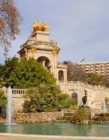 Griffin and fountain of the Monumental Cascade in Ciutadella Park - Barcelona, Spain
