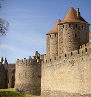 The towers and drawbridge at the Narbonne Gate - Carcassonne, France