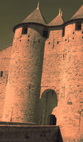 Entrance and towers of the Count's Castle of Carcassonne - Carcassonne, France