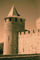 Tower Saint-Paul of the Count's Castle in infrared - Carcassonne, France