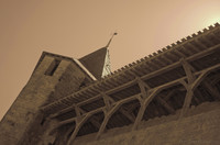 Tower and wooden gallery of the Count's Castle - Carcassonne, France