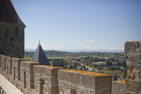 View from the ramparts walk of the inner wall of the Cité of Carcassonne - Carcassonne, France