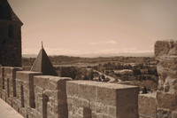 View of the region to the south of the fortified city and the Pyrenees - Carcassonne, France