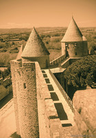 Ramparts walk of the inner wall of the fortress of Carcassonne - Carcassonne, France