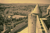 Inner and outer wall of the Cité of Carcassonne in infrared - Thumbnail