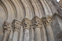 Detail of the capitals and archivolt on the north portal of the Saint Nazaire basilica - Carcassonne, France