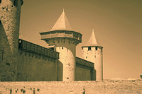 The towers of the Count's Castle of Carcassonne in infrared - Carcassonne, France