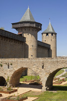 Comtal castle bridge and towers Casernes and Major - Carcassonne, France