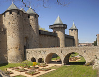 The bridge, towers and curtain walls of Count's Castle - Carcassonne, France