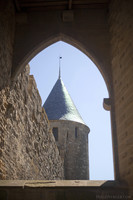 Cupola of Tower of Justice near the Aude Gate in the west side of the Cité of Carcassonne - Carcassonne, France