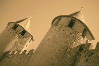 Details of the reconstructed towers of the citadel - Carcassonne, France