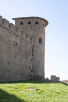 Complete view of a Roman tower of the inner wall of the citadel - Carcassonne, France
