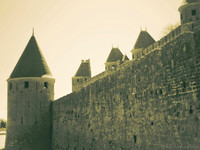 The walls of Carcassonne as seen from the drawbridge of the Narbonne Gate - Carcassonne, France