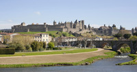 Panoramic view of the citadel from the New bridge (Pont Neuf) - Carcassonne, France
