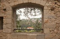 Panoramic lookout window in the Francesa gardens of Girona - Girona, Spain