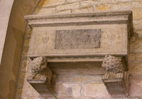 Sepulcher in the cloister of the Girona Cathedral on lion-shaped pedestals - Girona, Spain