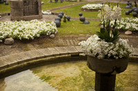Fuente floral en el patio de la Catedral Santa María - Girona, España