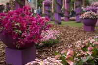 Detalle de un pilar de flores en la Plaza dels Jurats - Girona, España