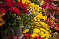 Yellow calla lilies, red roses, and yellow Fuji chrysanthemums - Lisse, Netherlands