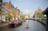 The Singel canal and the Bloemenmarkt - Amsterdam, Netherlands