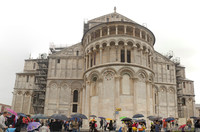 Pisa Cathedral chevet on a rainy day - Pisa, Italy