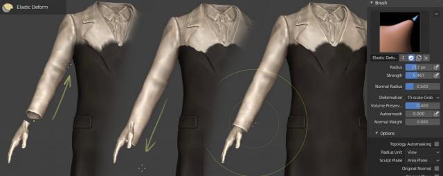 Mode Sculpture dans Blender 3D - Outil Déformation élastique
