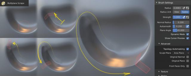 Modalità Scultura in Blender 3D - Strumento Multilane scrape