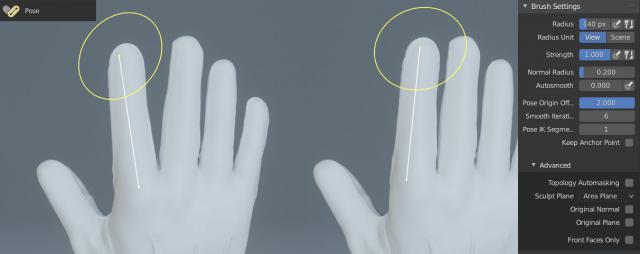 Modalità Scultura in Blender 3D - Strumento Pose