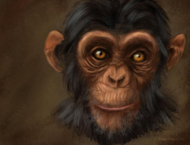 Monkey Business pintura de chimpancé en Krita