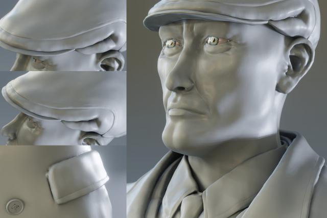 Vanrick - Sculpture personnage 3D - Détails chapeau