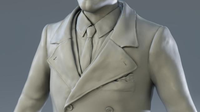 Vanrick - Sculpture personnage 3D - Détail manteau - Blender